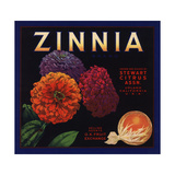 Zinnia Brand - Upland, California - Citrus Crate Label Prints by  Lantern Press