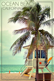 Ocean Beach, California - Lifeguard Shack and Palm Poster par  Lantern Press