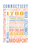 Connecticut - Typography Print by  Lantern Press
