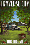 Traverse City, Michigan - Cherry Orchard Harvest Prints by  Lantern Press