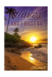 Hawaii - the Waves are Calling - Sunset and Palm Poster by  Lantern Press