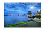 New Orleans, Louisiana - City and Bridge at Night Posters by  Lantern Press