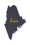 Maine - Home State- Gray on White Prints by  Lantern Press