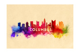 Columbus, Ohio - Skyline Abstract Prints by  Lantern Press