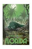 Orlando, Florida - Alligator in Swamp Art by  Lantern Press