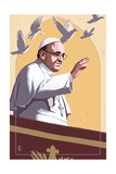 Pope and Doves - Lithography Style Print by  Lantern Press