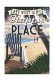 Key West, Florida is My Happy Place - Adirondack Chairs and Sunset - Florida Giclee-tryk i høj kvalitet af  Lantern Press