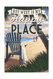 Key West, Florida is My Happy Place - Adirondack Chairs and Sunset - Florida Print by  Lantern Press