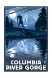 Columbia River Gorge - Bigfoot and Mountain Posters by  Lantern Press