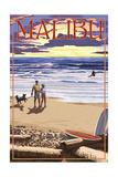 Malibu, California - Beach Scene and Surfers Posters by  Lantern Press