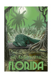 St. Augustine, Florida - Alligator in Swamp Print by  Lantern Press