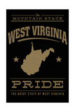 West Virginia State Pride - Gold on Black Print by  Lantern Press