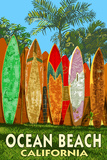 Ocean Beach, California - Surfboard Fence Art by  Lantern Press