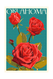 Oklahoma - Rose - Letterpress Prints by  Lantern Press