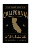 California State Pride - Gold on Black Prints by  Lantern Press