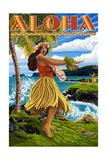 Aloha - Hawaii Hula Girl on Coast Prints by  Lantern Press