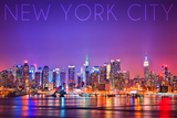 New York City, New York - Colorful Skyline Lights Posters by  Lantern Press