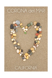 Corona del Mar, California - Stone Heart on Sand Art by  Lantern Press