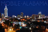 Mobile, Alabama - City Lights at Night Prints by  Lantern Press