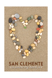San Clemente Is Where My Heart Is - California - Stone Heart on Sand Print by  Lantern Press