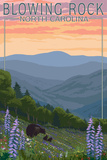 Blowing Rock, North Carolina - Spring Flowers and Bear Family Art by  Lantern Press