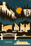 Chattanooga, Tennessee - Retro Skyline (no text) Posters by  Lantern Press