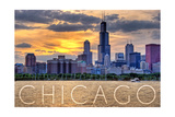 Chicago, Illinois - Moody Skyline Prints by  Lantern Press