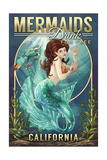 California - Mermaids Drink for Free (top) Poster by  Lantern Press