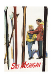 Ski Michigan - Couple by Skis in the Snow Posters by  Lantern Press