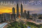 Kuala Lumpur, Malaysia - Skyline at Sunset Prints by  Lantern Press