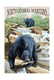 North Georgia Mountains - Black Bears Fishing Posters by  Lantern Press