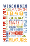 Wisconsin - Typography Poster by  Lantern Press