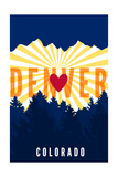 Denver, Colorado - Heart and Treeline (Vertical) Prints by  Lantern Press