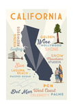Del Mar, California - Typography and Icons Poster by  Lantern Press