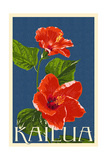 Kailua, Hawaii - Red Hibiscus Flower Letterpress Posters by  Lantern Press