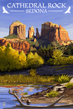 Sedona, Arizona - Cathedral Rock (Blue Water Version) Prints by  Lantern Press