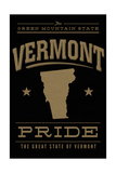 Vermont State Pride - Gold on Black Poster by  Lantern Press