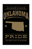 Oklahoma State Pride - Gold on Black Poster by  Lantern Press