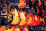 Austin, Texas - Electric Guitars on Wall Posters by  Lantern Press