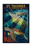 St. Thomas, U.S. Virgin Islands - Sea Turtle Mosaic Prints by  Lantern Press
