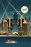 Detroit, Michigan - Retro Skyline (no text) Prints by  Lantern Press