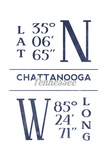 Chattanooga, Tennessee - Latitude and Longitude (Blue) Prints by  Lantern Press