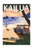 Kailua, Hawaii - Woody on Beach Posters by  Lantern Press