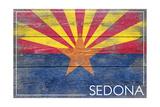 Sedona, Arizona - Arizona State Flag - Barnwood Painting Prints by  Lantern Press