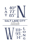 Salt Lake City, Utah - Latitude and Longitude (Blue) Print by  Lantern Press