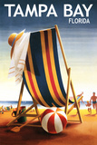 Tampa Bay, Florida - Beach Chair and Ball Poster by  Lantern Press