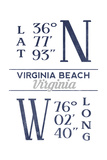 Virginia Beach, Virginia - Latitude and Longitude (Blue) Art by  Lantern Press