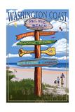 Pacific Beach, Washington - Washington Coast - Signpost Destinations Posters by  Lantern Press