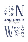 Ann Arbor, Michigan - Latitude and Longitude (Blue) Prints by  Lantern Press