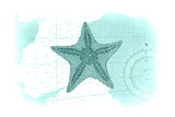 Starfish - Teal - Coastal Icon Print by  Lantern Press